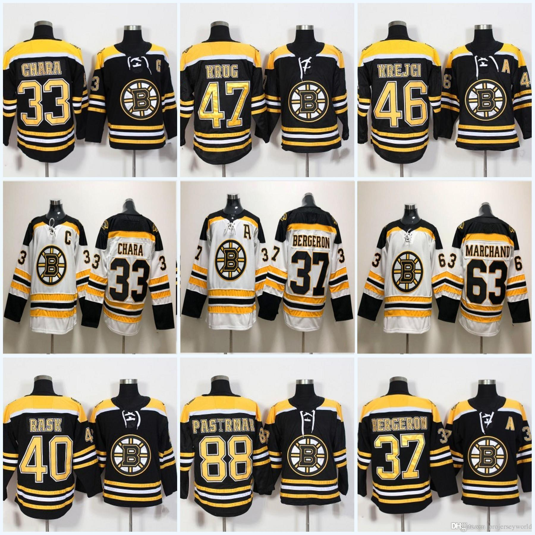 d4bf1d324f3 Acquista 37 Patrice Bergeron 2018 Boston Bruins 33 Zdeno Chara 73 Charlie  McAvoy 47 Torey Krug 88 David Pastrnak 63 Brad Marchand Maglia Da Hockey A   24.37 ...