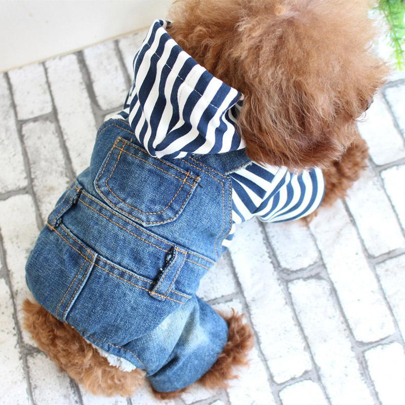 Fashion Four Legs Jeans Dog Clothes Chihuahua Pet Cool Spring Jumpsuit Striped Jacket With Denim Overalls Teddy Jeans Leisure Sweatshirt