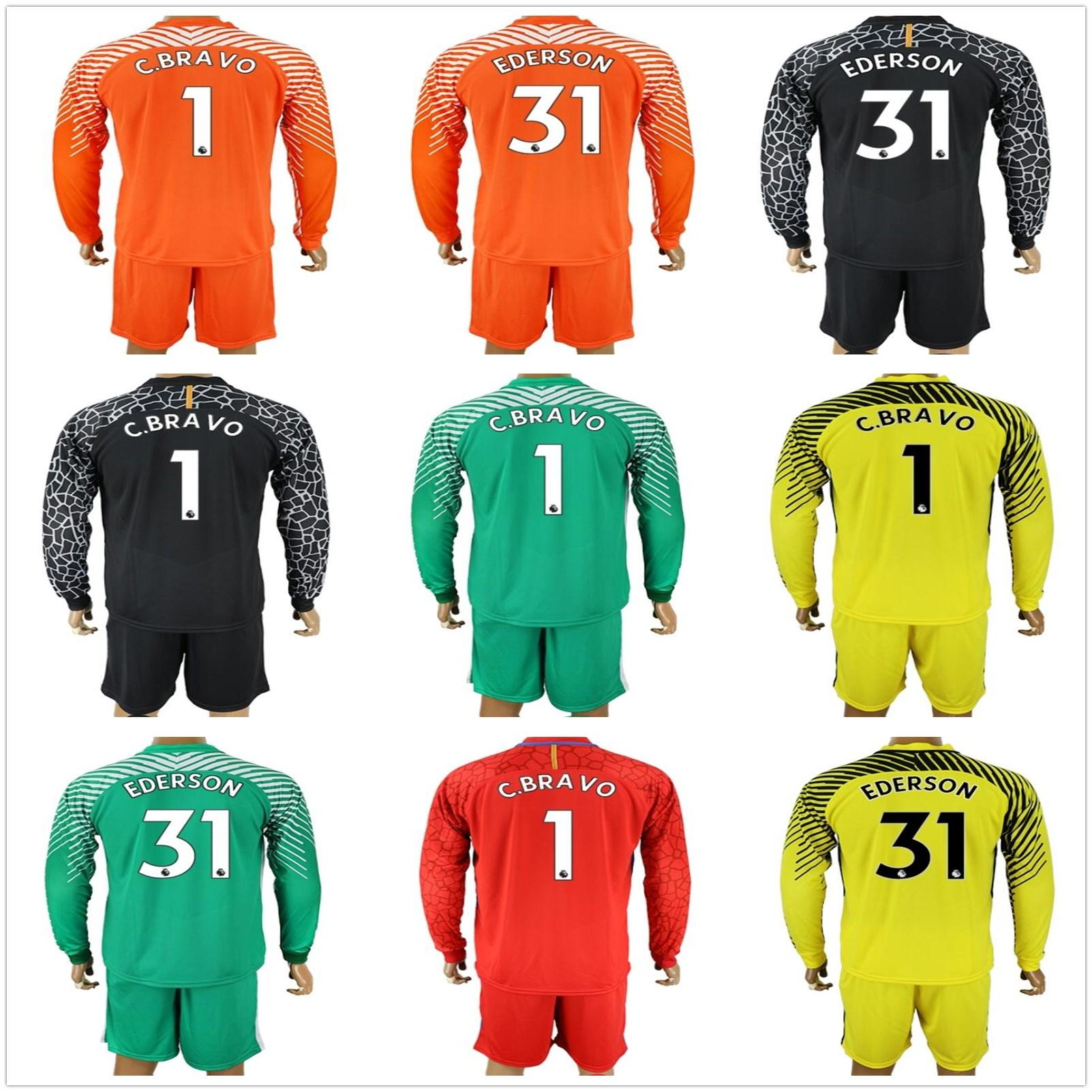 2018 2017 2018 long sleeve blue moon soccer jerseys claudio bravo goalkeeper jersey c. bravo ederson green orange adults uniforms football sets from