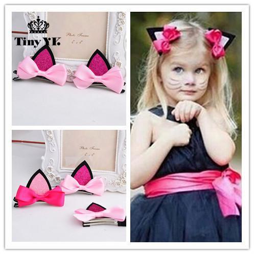 2 unidades = 1 par niños niñas bebés accesorios para el cabello clip Horquillas para el cabello pasadores Arco sombreros flor gato orejas horquilla
