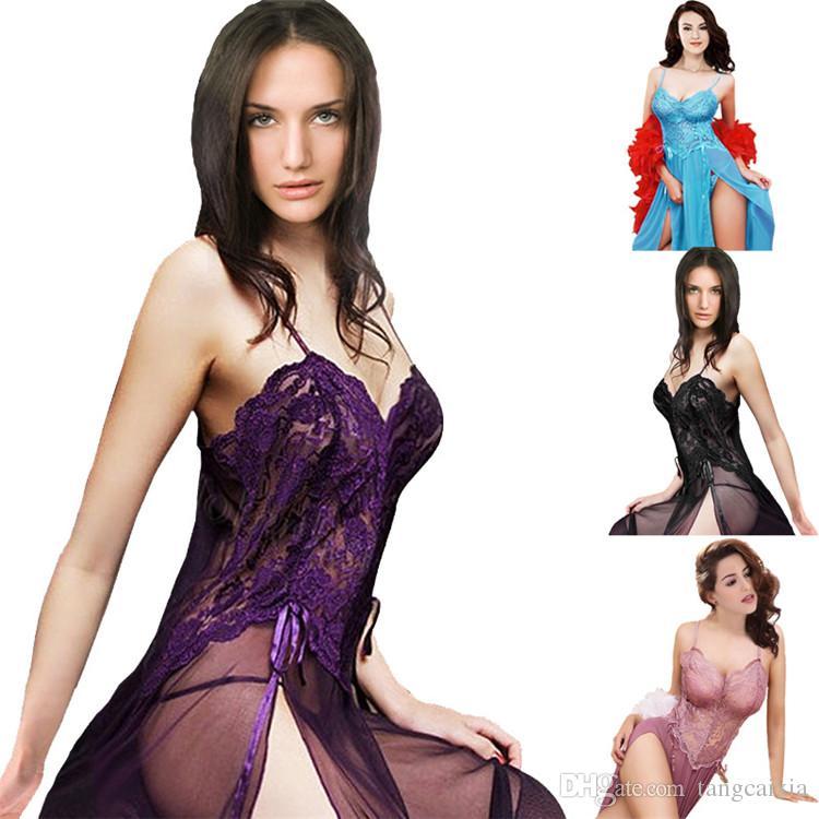 Donne libere all'ingrosso di trasporto del merletto biancheria da notte sexy degli indumenti da notte biancheria intima calda di sonno di spaccatura di alta spaccatura più il formato 6XL
