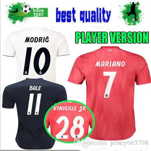 c51622447 2019 Player Version 2018 2019 Real Madrid Soccer Jerseys Home 18 19  Champions League VINICIUS JR Away MARIANO Bale Asensio THIRD Football Shirts  From ...