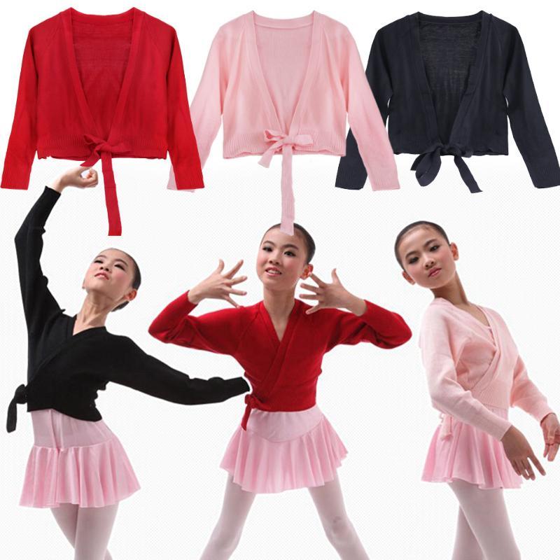 Iefiel Kids Girls Knied Ballet Latin Dance Wear Sweaters Coat