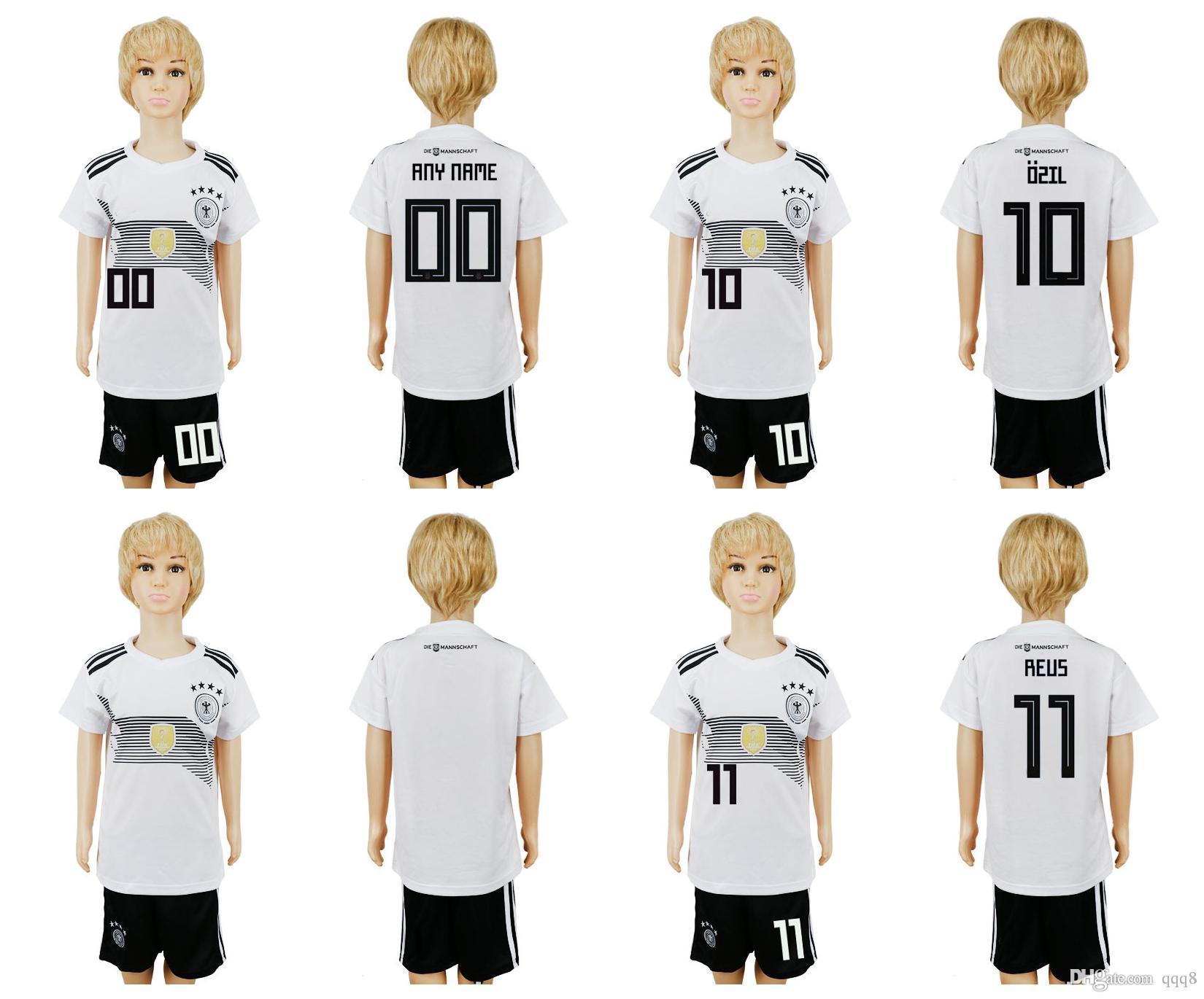 ad2db6d874 Compre 2018 Copa Do Mundo Alemanha Soccer Jersey Kids Kit 2018 Alemanha  Home Camisas De Futebol Branco OZIL REUS Criança Camisas De Futebol  Uniforme Jersey ...