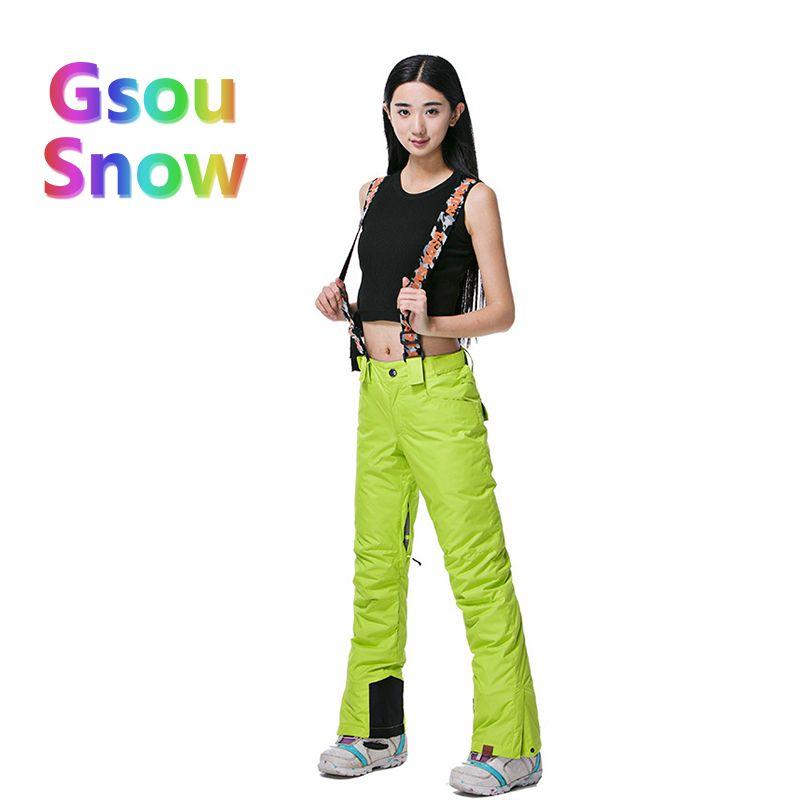 e5a28e2e872 Gsou Snow Winter Outdoor Women s Skiing Sports Waterproof Ski Pants ...