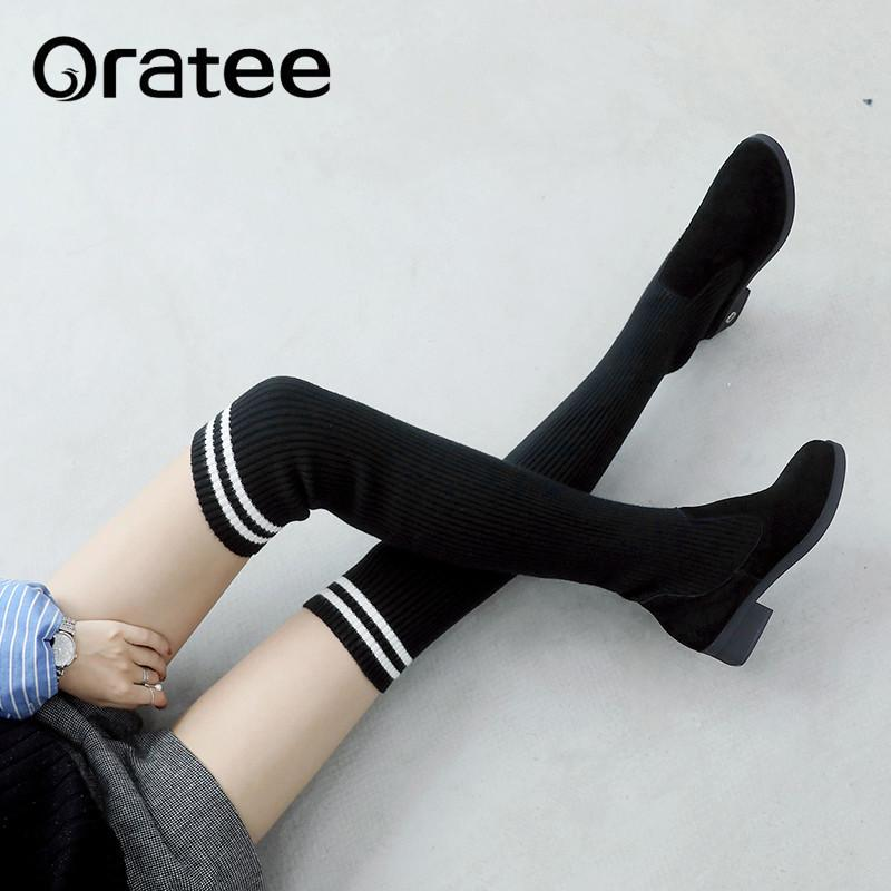 581b389c2 New Slim Stretch Fabric Over The Knee Boots Women Sexy Thigh High Boots  Black Ladies Low Heels Shoes Lolita Knitting Sock Winter Boots Over The Knee  Boots ...