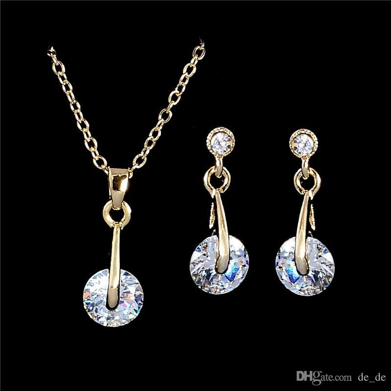 whole saleAtreus Hot Sale 1Set Gold Color Fantastic Australia Crystal Attractive Earring Pendant Necklace Jewelry Set Gift