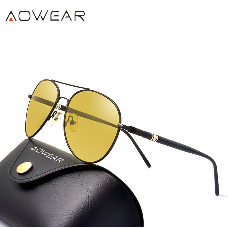7b9909ad4a159 Compre Atacado Famosa Marca De Visão Noturna Óculos Para Condução Noite  Polarizada Óculos De Sol Para Mulheres Dos Homens Piloto Piloto Óculos De  Sol De ...