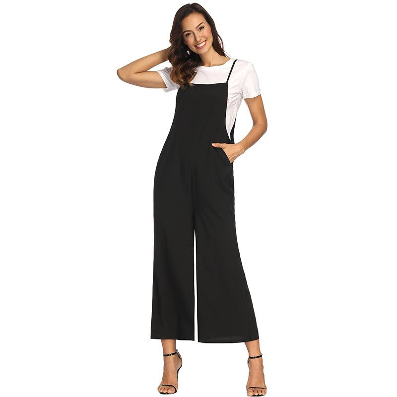 92102b3feb 2019 Summer Jumpsuit Romper Women Long Playsuit Jumpsuit Female Bib  Overalls 2018 Casual Solid Casual Pants Rompers From Carawayo