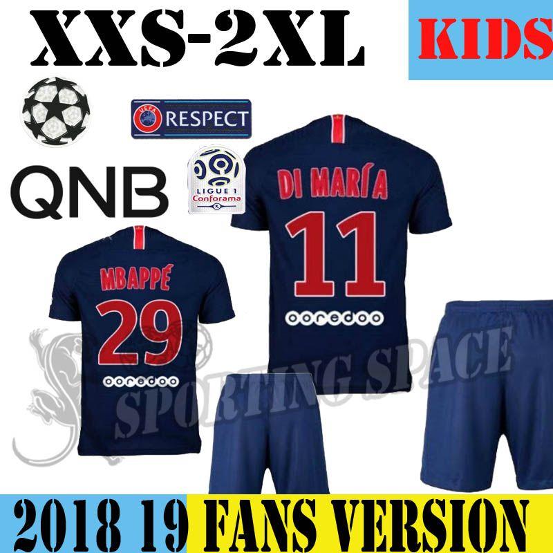 e0b2b5785 18 19 SG Kids Kit Jersey And Short Set 2018 2019 NEYMAR JR MBAPPE CAVANI  Yellow Black Children Youth Soccer Football With Pants Ligue 1 UCL