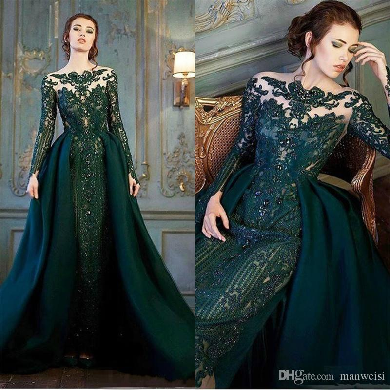 Modest Emerald Hunter Green Long Sleeve Evening Dresses With Detachable  Train 2018 Luxury Lace Beaded Mermaid Prom Gowns Turquoise Evening Dress  Velvet ... 5f4f2c6157e5