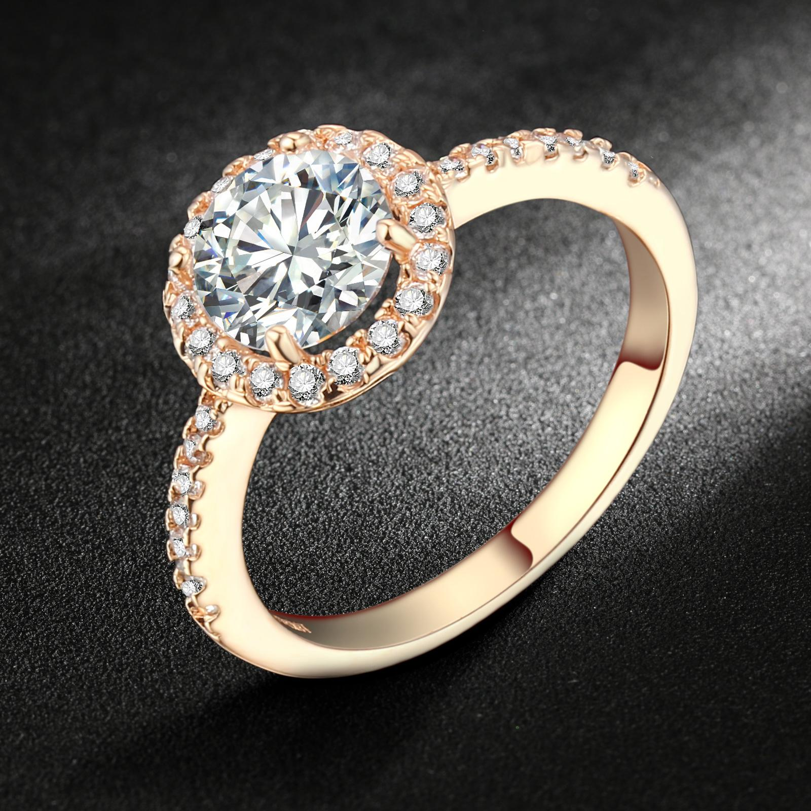 f63994db4 Swiss AAA+ CZ Diamond Halo Engagement Rings 18K Rose Gold/Platinum Plated  Crystal Round Ring Wedding Jewelry For Women DFR319
