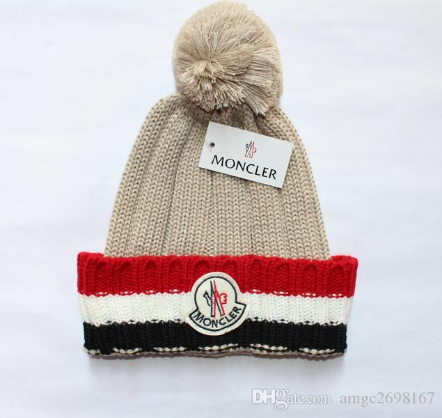 af5b4ea6d1a Wholesale Real Fur Raccoon Pompon Pom Knitted Winter Brand Hat ...
