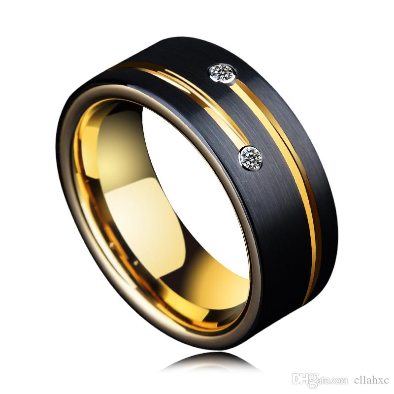 Mens Black Tungsten Wedding Bands.Wholesale 8mm Mens Cz Stone Wedding Bands Designs Black Tungsten Rings For Men With Gold Groove
