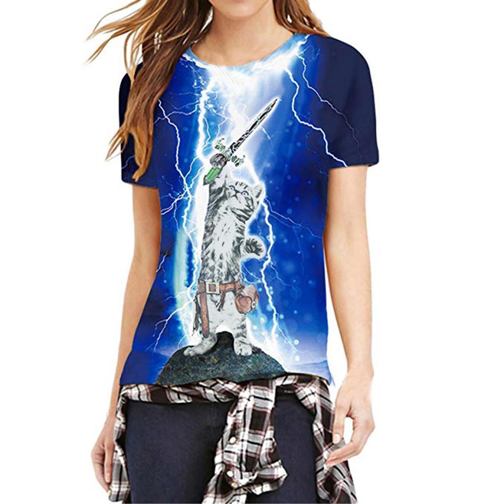 de2d10571ccb Woman Tshirt Tops Summer Mode 3D Print Cat Kitty V Unisex Short Sleeve Tops T  Shirts Funny O Neck Plus Size 4xl Design Your T Shirt Personalized T Shirt  ...