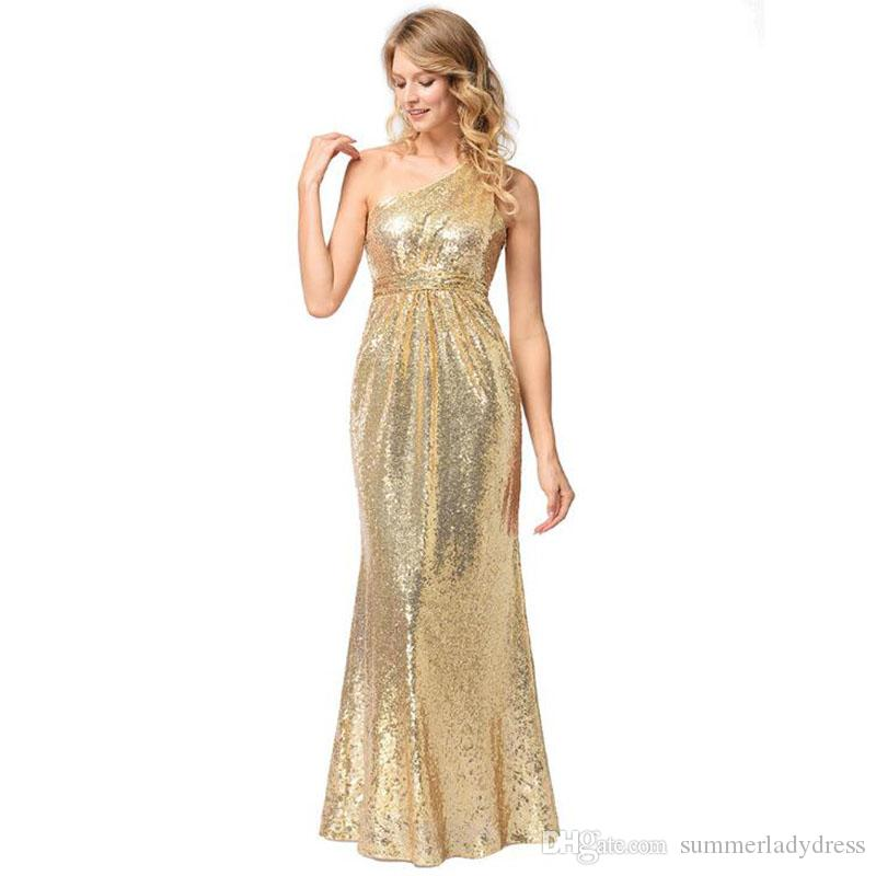 2018 2018 Fashion Formal Dress For Ladies Inclined Shoulder Gold