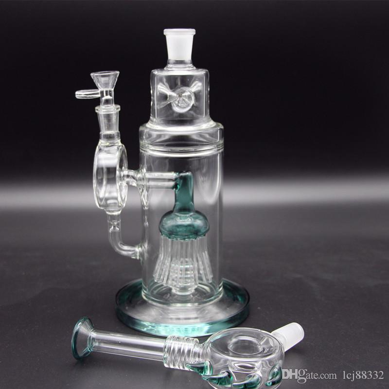 "BIG BONG Recycler Glass Water Pipe Cyclone Helix Bongs Inline Tree Perc Dome Percolator Glass Bongs Height 15.7"" Tall Oil Rigs"