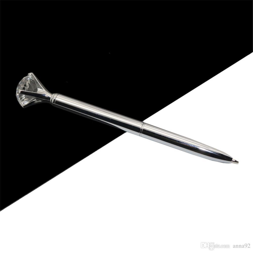 Kawaii Ballpoint Pen Big Gem Metal Ball Pen With Large Diamond Blue And Black Magical Pen Fashion School Office Supplies 2018