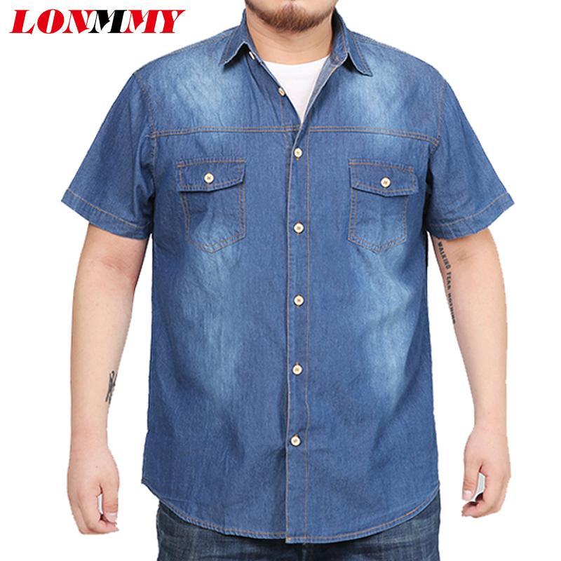 release date: 03e8f d21b0 LONMMY 7XL 8XL Camicie di jeans uomo vestito Jeans blusas masculina Camicie  casual per uomo Maniche corte in cotone uomo di alta qualità