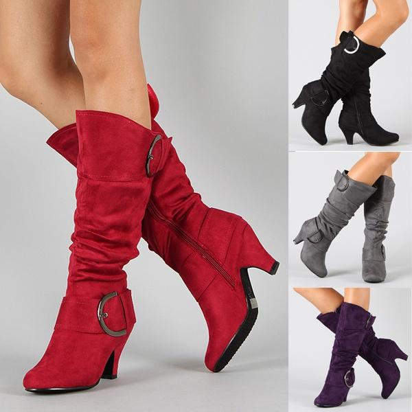 238f4f5951a Fashion Women Suede Heels Shoes Long Boots Pointed Toe Knee High Ladies  Vintage Boots Autumn Winter Casual Solid Color Flats Boot Shoes