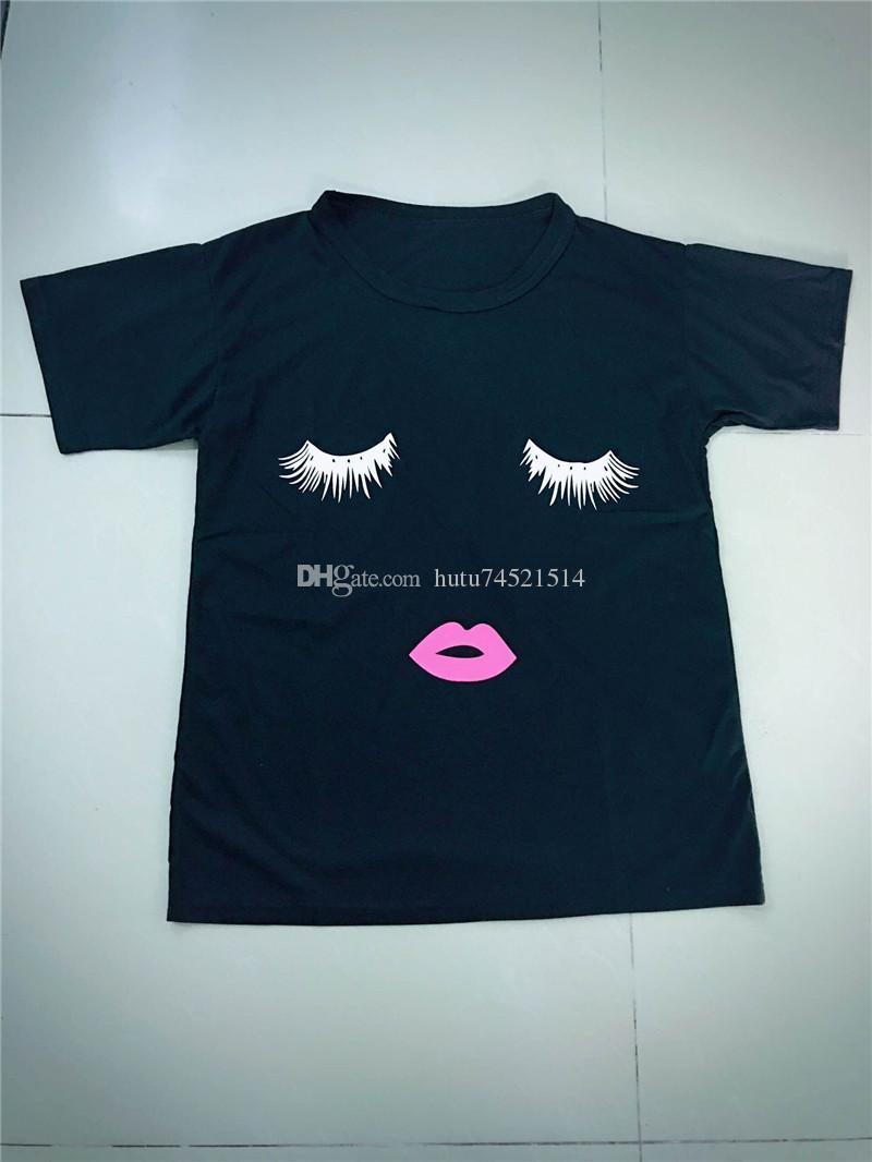 Kirpik Kırmızı Dudaklar Tişörtleri Baskı Mektuplar Kadın T-shirt Artı Boyutu Yaz Tee Gömlek Femme Gömlek Kadın Tops