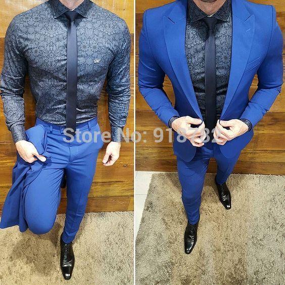 8b37bedc2dc0e Compre Últimos Escudo Pant Diseños 2018 Terno Masculino Slim Fit Azul 2  Piezas Traje De Hombres Con Pantalones Trajes De Boda Para Hombres Disfraz  Homme A ...