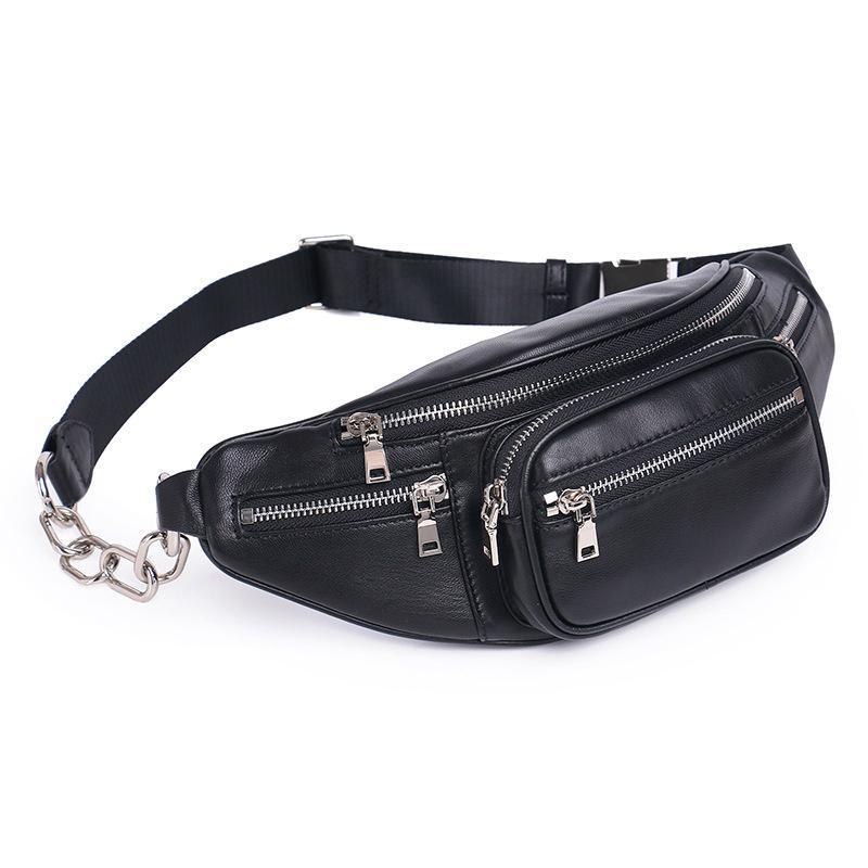 b0ec8a4b3f67 Genuine Leather Waist Bag Women Waist Pack Bag Funny Pack Belt Chest Female  Chain Small Travel Bags For Phone DF0301 Cheap Handbags Messenger Bags For  Women ...