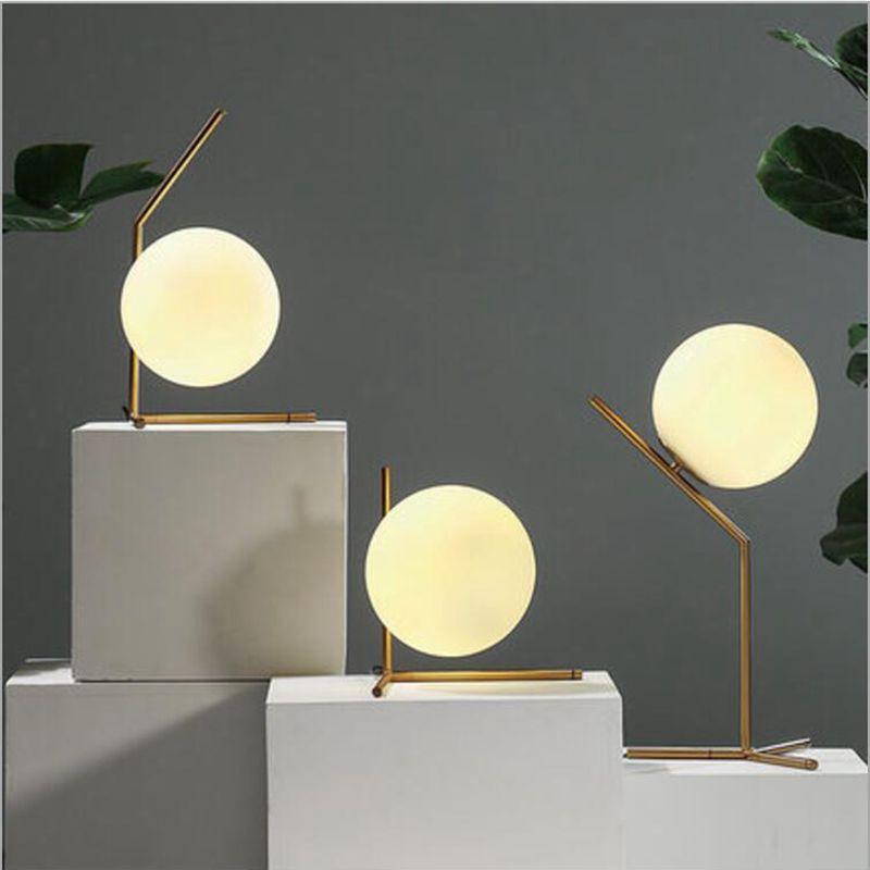 2018 Modern Led Table Lamp Desk Light Shade Glass Ball For Bedroom Living Room Floor Bedside Gold Designs From Jun5465