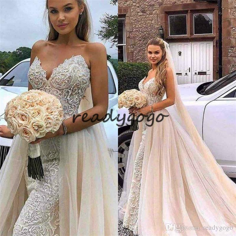 2019 New Mermaid Overskirts Wedding Dresses With Detachable Train Lace Appliques Sweetheart blush Bridal Gowns Garden Vestidos De Mariee
