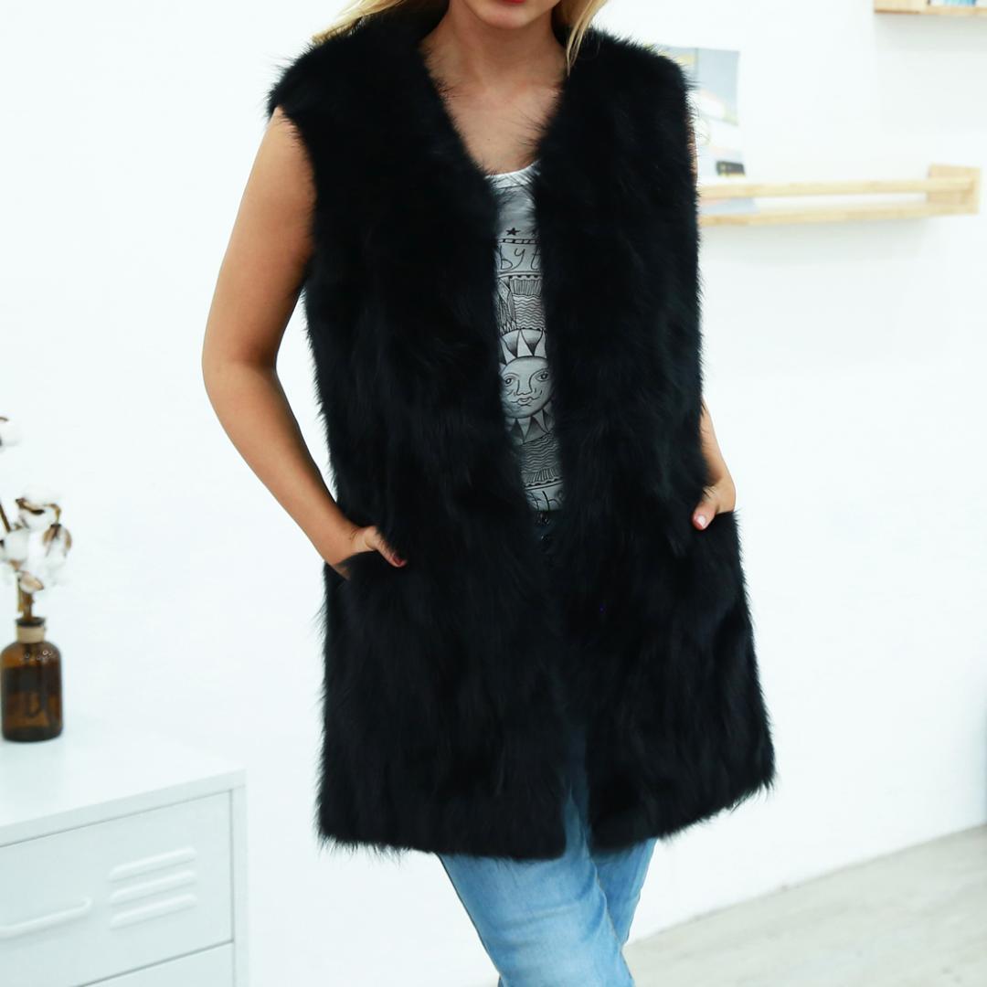 Acheter Noir Fausse Fourrure Manteau Manteau De Mode Femmes Col En V