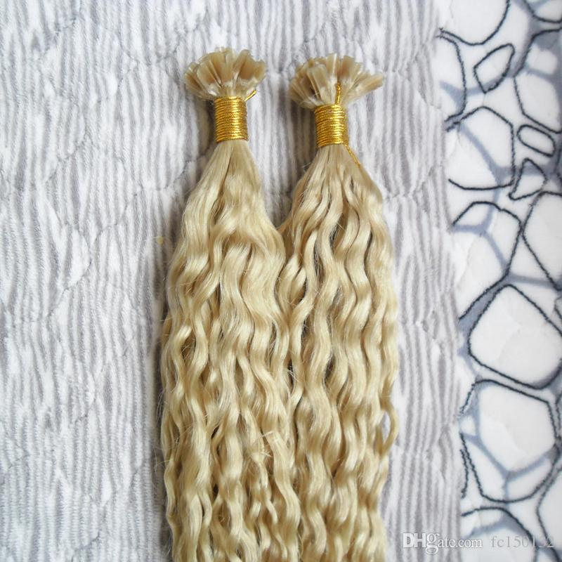 613 Blonde Hair kinky curly Nail U Tip Pre Bonded Capsules Hair Extension 100g curly fusion hair extensions