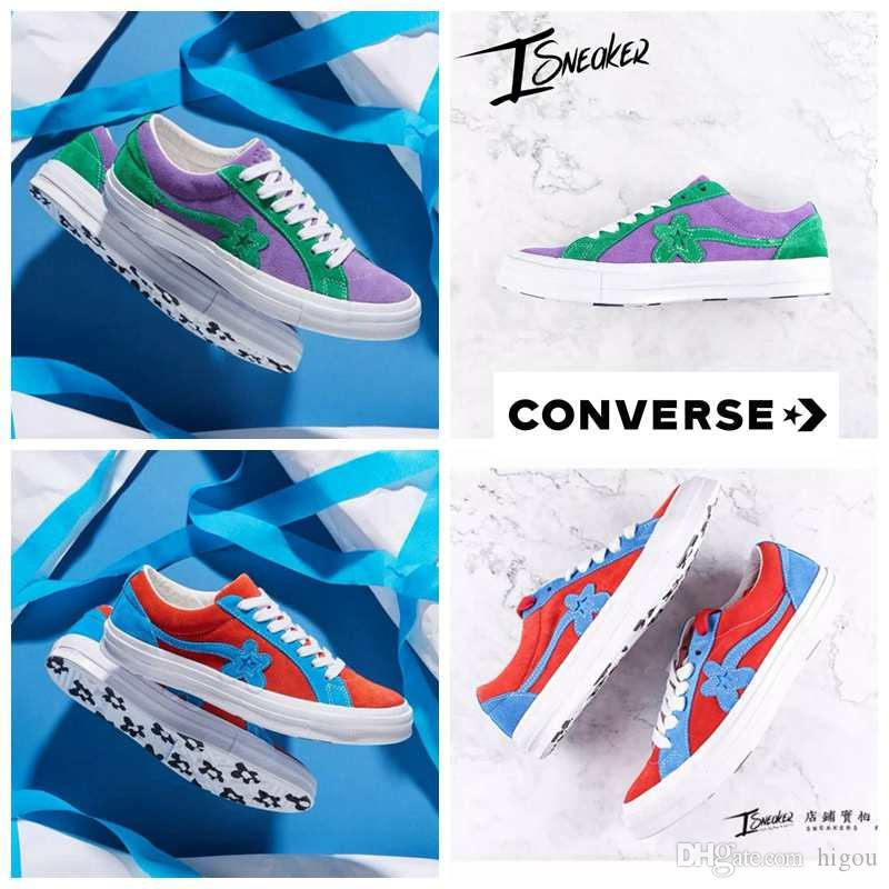 ee83ef65f1f7 2018 New Converse All Stars X Tyler The Creator GOLF Le FLEUR Casual  Designer Flowers Casual Brand One Star Skate Running Sneakers 35 44  Basketball Shoes ...