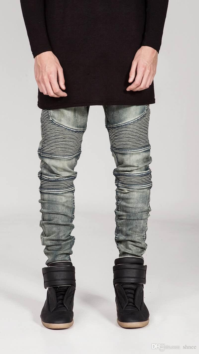Erkekler Sıkı Skinny Biker Jeans Tahrip Slim Fit Kot Pantolon Ripped Mens Elastik Bel Harem Pantolon Erkekler Jogger Giyim