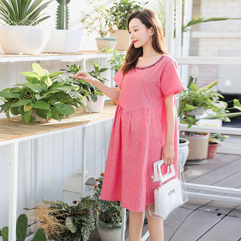 4f3dab2f8f0 2019 Summer Korean Fashion Maternity Dress Plus Size Loose Large Design  Clothes For Pregnant Women Pregnancy Clothing From Mingway245