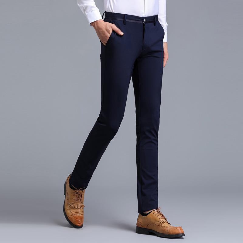 74b15cf762 Compre Pantalones De Vestir De Los Hombres De La Marca Pantalones Formales  Slim Fit Traje De Negocios Casuales Hombres De La Boda Negro Para Hombre ...