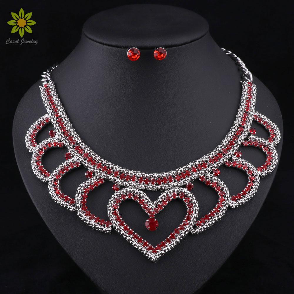 82fba81261b9 Compre Granos Africanos Conjuntos De Joyas Collar De Moda Con Arete  Gargantilla De Metal Plateado Cristal Rojo En Forma De Corazón Collar  Pendientes Para ...