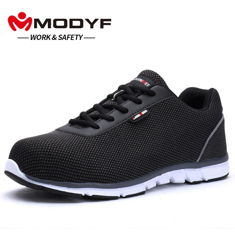 3566c7f03d06 MODYF Men Steel Toe Work Safety Shoes Lightweight Breathable Reflective  Casual Sneaker Girls Boots Black Ankle Boots From Koday