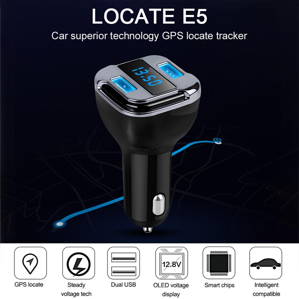 GPS Locate E5 Dual USB Port Fast Charger DC 5V/12V/24V For Phone Adapter
