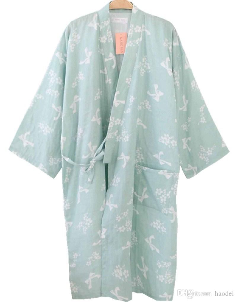 Wholesale- Shanghai Story Women Cotton Three-quarter Sleeves Kimono Bathrobe  With Pockets Robe Printed Flower Pajamas .com Online Shopping Online with  ... bda1602db