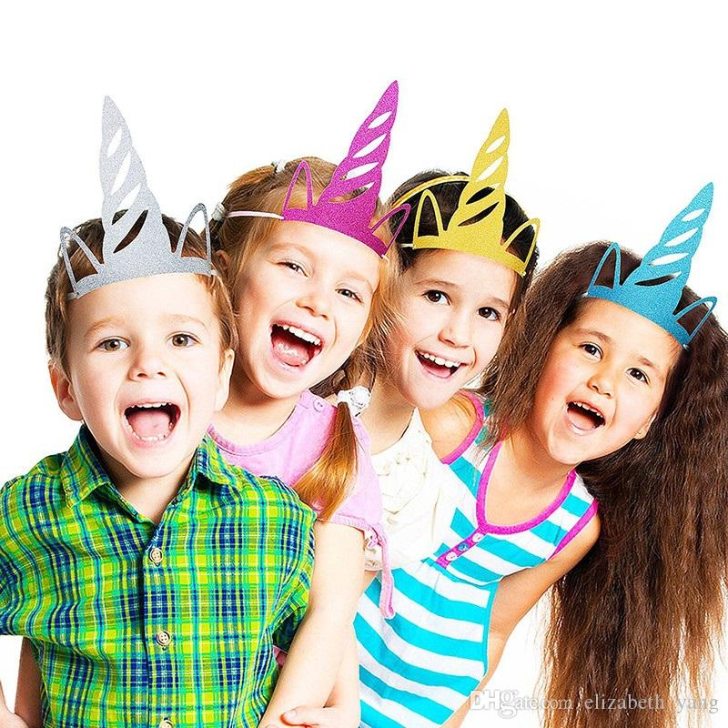 Hot Unicorn Horn Hats Glitter Unicorns Headband Party Supplies Birthday Decorations For Kids And Adults Funny Hat From