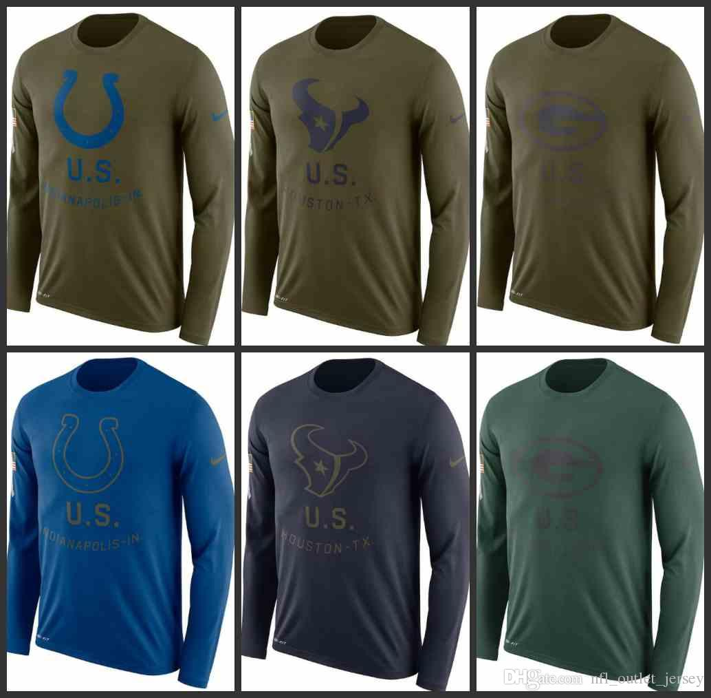 54a81feff 2018 Indianapolis Colts Houston Texans Green Bay Packers Men Salute To  Service Sideline Legend Performance Long Sleeve T Shirt Olive From  Mclothingsale