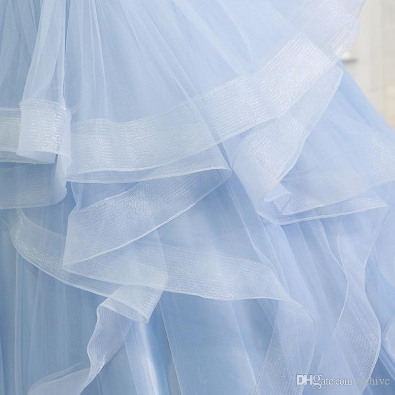 New Arrival Sky Blue Quinceanera Dresses 2018 V Neck Sleeveless Corset Tulle Ball Gown Sweet 16 Dresses Formal Debutante Masquerade Gowns