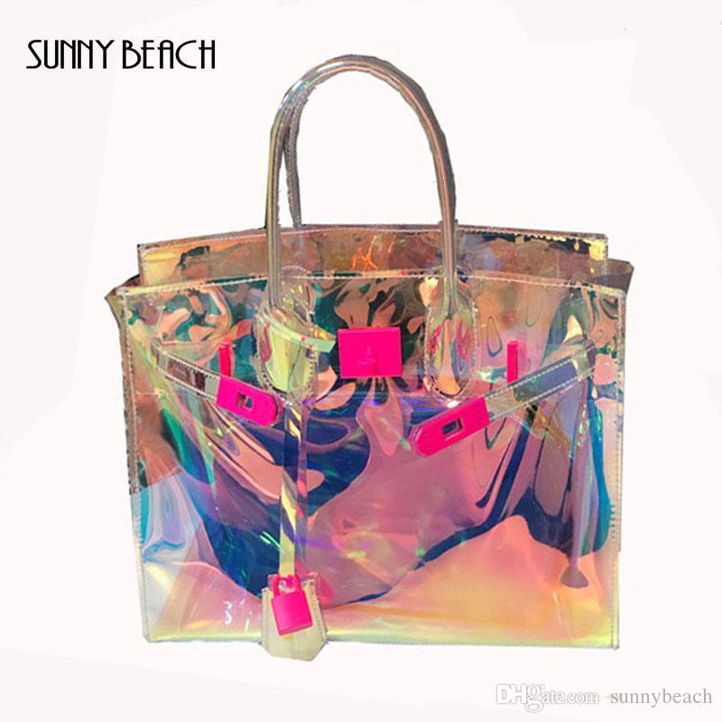 2018 New Transparent Hologram Laser Messenger Bag Women Pink Jelly Shoulder  Bag Female Harajuku Big Tote Girl Handbags Bolsas Handbags Brands Hobo  Handbags ... fad87c5dd39d6