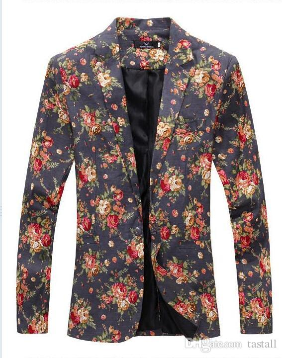 Mens Royal Red Floral Blazer Slim Fitted Party Single Breasted Blazers Men One Button Suit Jacket Stage Costumes For Singers