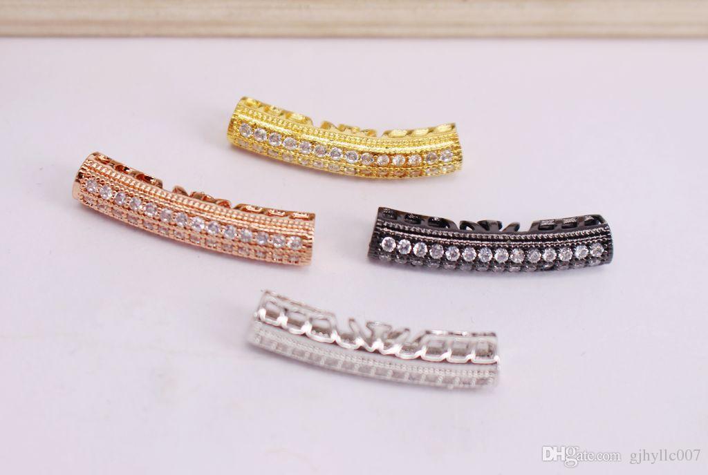 HOT Micro Mix plateado Curva circular forma de tubo Cobre Metal Blanco CZ / Zircon cuentas colgante conector / pulsera / collar, Resultados de la joyería