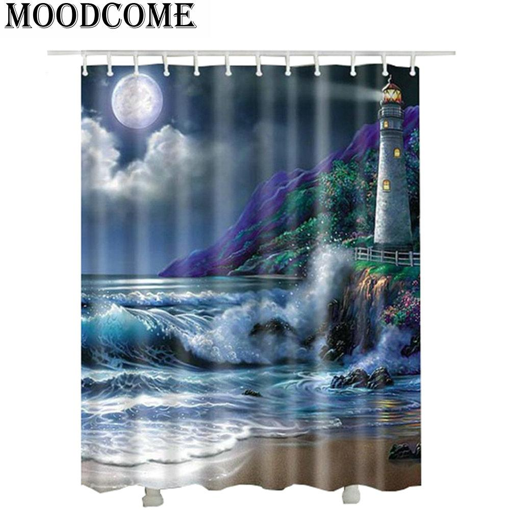 2019 Waterproof Fabric 3D Lighthouse Shower Curtain For Bathroom Hot Sale Cortinas Ducha Beach Sea Moon From Xuol 2776