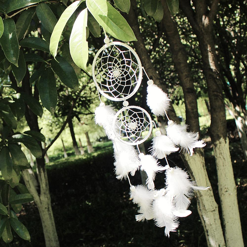 White dream catcher home decoration hangings feather dream catcher whosale