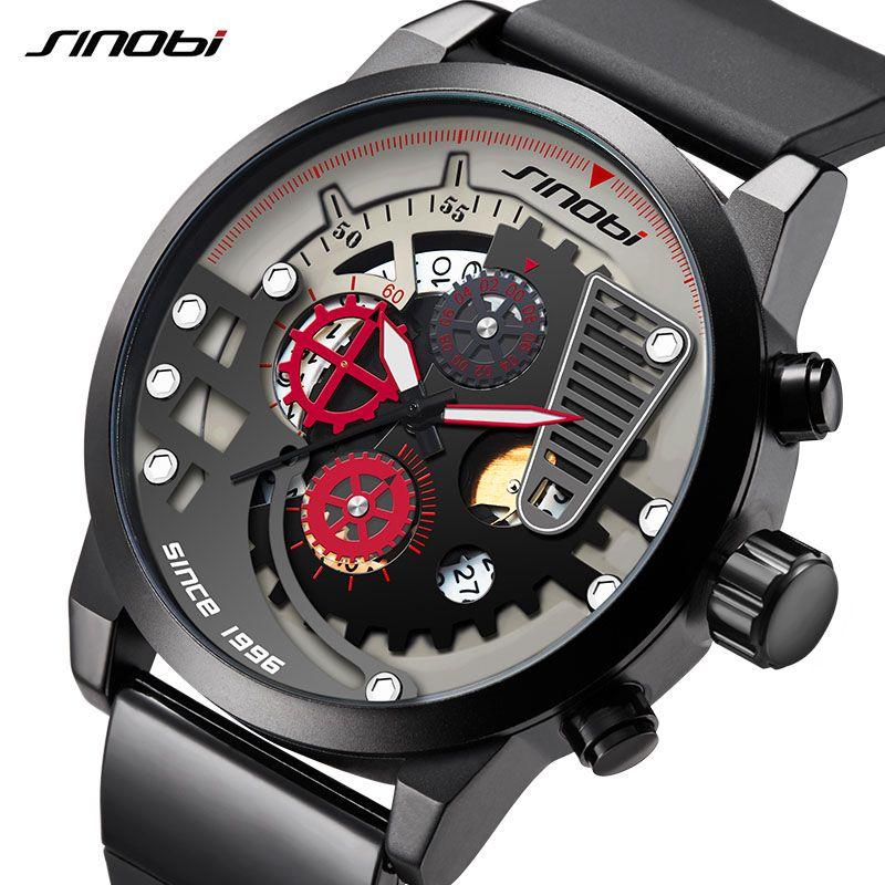 3c12517272ca Compre SINOBI Hombres Reloj De Primeras Marcas De Lujo Deporte Hombre  Creativo Deportes Relojes De Pulsera Para Hombres Reloj Cronógrafo Reloj  Masculino ...