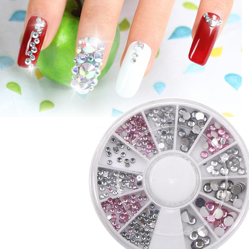 Glitter Rhinestone Crystal Decoration For Nail Art Design Manicure 3D Nail  Tips Decorations UV Gel Charms Round Wheel Nail Stamp Acrylic Nail From  Whiteer 4ddc745f3a8e