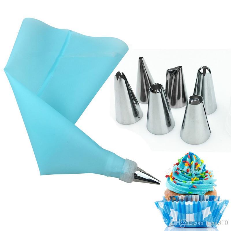8 Pz / set Silicone Glassa Piping Cream Pastry Bag Suggerimenti Ugello In Acciaio Inox Punte Della Pasticceria Converter Strumenti Torta T2I073